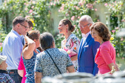 Crown Princess Victoria, King Carl Gustav, and Queen Sylvia of Sweden greet members of the audience at The Crown Princess Victoria of Sweden's 42nd birthday celebrations on July 14, 2019 at Solliden Palace in Borgholm, Oland, Sweden.