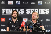 Captain Samuel Whitelock and Head Coach Scott Robertson (L-R) speak to the media during a Crusaders Super Rugby media session at Rugby Park on August 2, 2018 in Christchurch, New Zealand.