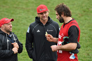 Assistant Coach Jason Ryan, Head Coach Scott Robertson and captain Samuel Whitelock (L-R) look on during a Crusaders Super Rugby training session at Rugby Park on August 2, 2018 in Christchurch, New Zealand.