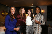 "(L-R) Jackie Iadonisi, Heather McDonald, Erika de la Cruz and Drew Dorsey attend the Crustacean Beverly Hills Hosts AJ Gibson's ""Flipping The Script"" Book Launch And Fundraiser For The Trevor Project at Crustacean on October 1, 2018 in Beverly Hills, California."