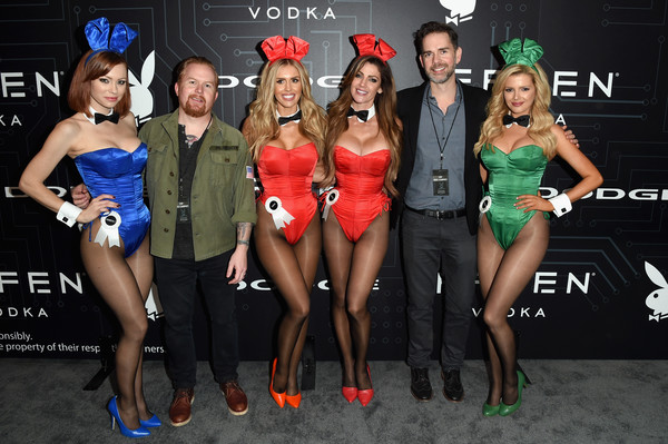The Playboy Party During Super Bowl Weekend - Arrivals [magazine,event,fashion,competition,technology,model,party,kimberly phillips,stephanie branton,chief content officer,l-r,space,playboy party,playboy enterprises inc,super bowl,arrivals]