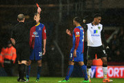Match referee Mike Dean (L) sends off Leroy Fer (R #10) of Norwich City for a second bookable offence during the Barclays Premier League match between Crystal Palace and Norwich City at Selhurst Park on January 1, 2014 in London, England.