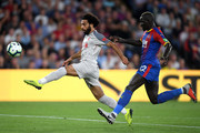 Mohamed Salah of Liverpool is closed down by Mamadou Sakho of Crystal Palace during the Premier League match between Crystal Palace and Liverpool FC at Selhurst Park on August 20, 2018 in London, United Kingdom.