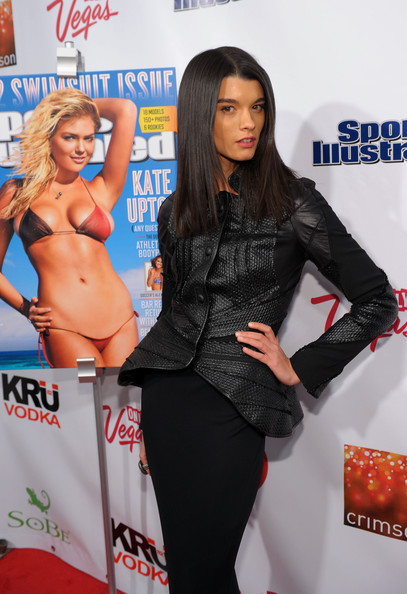 SI Swimsuit Launch Party Hosted By Crimson In New York City [clothing,premiere,leg,brown hair,model,long hair,thigh,carpet,model,crystal renn,si swimsuit,new york city,launch party,crimson in new york city,sports illustrated]