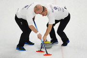 Cameron Smith and Kyle Waddell of Great Britain compete in the Curling Men's Tie-breaker against Switzerland on day thirteen of the PyeongChang 2018 Winter Olympic Games at Gangneung Curling Centre on February 22, 2018 in Gangneung, South Korea.