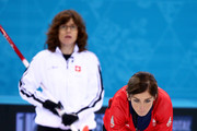Eve Muirhead of Great Britain and Mirjam Ott of Switzerland look on during the Bronze medal match between Switzerland and Great Britain on day 13 of the Sochi 2014 Winter Olympics at Ice Cube Curling Center on February 20, 2014 in Sochi, Russia.