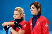 Eve Muirhead (R) and Anna Sloan of Great Britain look on during the Bronze medal match between Switzerland and Great Britain on day 13 of the Sochi 2014 Winter Olympics at Ice Cube Curling Center on February 20, 2014 in Sochi, Russia.