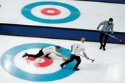 Thomas Muirhead, Cameron Smith and Kyle Waddell of Great Britain compete in the Curling Men's Tie-breaker against Switzerland on day thirteen of the PyeongChang 2018 Winter Olympic Games at Gangneung Curling Centre on February 22, 2018 in Gangneung, South Korea.