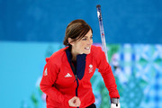 Eve Muirhead of Great Britain celebrates as Team GB win the bronze medal with the final stone during the Bronze medal match between Switzerland and Great Britain on day 13 of the Sochi 2014 Winter Olympics at Ice Cube Curling Center on February 20, 2014 in Sochi, Russia.