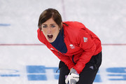 Eve Muirhead of Great Britain in action during the Bronze medal match between Switzerland and Great Britain on day 13 of the Sochi 2014 Winter Olympics at Ice Cube Curling Center on February 20, 2014 in Sochi, Russia.
