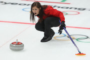 Eve Muirhead of Great Britain reacts during the Curling Women's Round Robin Session 2 held at Gangneung Curling Centre on February 15, 2018 in Gangneung, South Korea.