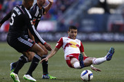 Felipe Martins #8 of New York Red Bulls fights for the ball with Sean Franklin #5 of D.C. United during their match at Red Bull Arena on March 22, 2015 in Harrison, New Jersey.