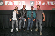 "(L-R)  O'Shea Jackson Jr, Pablo Schreiber,  Curtis ""50 Cent"" Jackson and Gerard Butler, open up the  Den of Theives special screening at Regal South Beach on January 10, 2018 in Miami, Florida."