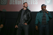 "(L-R)  Pablo Schreiber and Curtis ""50 Cent"" Jackson at The Den of Thieves special screening at Regal South Beach on January 10, 2018 in Miami, Florida."