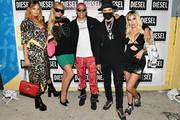 (L-R) Brandi Cyrus, Paris Hilton, Purple, Alec Monopoly, and Alexa Dellanos attend as DIESEL celebrates the exclusive launch of DIESEL Wynwood 28, their first residential building, with a DJ set by Amrit at Barter on December 04, 2019 in Miami, Florida.