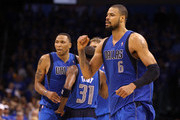 Tyson Chandler #6 of the Dallas Mavericks reacts in overtime before the Mavericks defeated the Oklahoma City Thunder 112-105 in overtime in Game Four of the Western Conference Finals during the 2011 NBA Playoffs at Oklahoma City Arena on May 23, 2011 in Oklahoma City, Oklahoma. NOTE TO USER: User expressly acknowledges and agrees that, by downloading and or using this photograph, User is consenting to the terms and conditions of the Getty Images License Agreement.