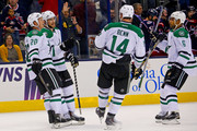 Jamie Benn #14 of the Dallas Stars congratulates Tyler Seguin #91 of the Dallas Stars after he scored his third goal of the game during the third period against the Columbus Blue Jackets on October 14, 2014 at Nationwide Arena in Columbus, Ohio. Dallas defeated Columbus 4-2.
