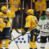 Calle Jarnkrok Photos - Tyler Seguin #91 of the Dallas Stars skates away as Rocco Grimaldi #23 of the Nashville Predators is congratulated by teammates Calle Jarnkrok #19 and Austin Watson #51 after scoring a goal the second period in Game Two of the Western Conference First Round during the 2019 NHL Stanley Cup Playoffs at Bridgestone Arena on April 13, 2019 in Nashville, Tennessee. - Dallas Stars vs. Nashville Predators - Game Two