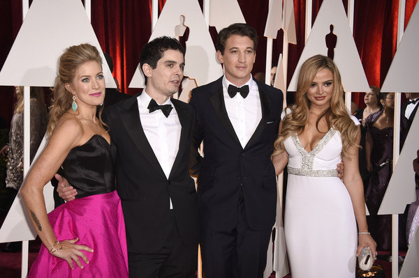 Arrivals at the 87th Annual Academy Awards — Part 3 [suit,formal wear,event,tuxedo,fashion,carpet,dress,fun,red carpet,premiere,arrivals,damien chazelle,miles teller,jasmine mcglade chazelle,keleigh sperry,l-r,hollywood highland center,california,87th annual academy awards]