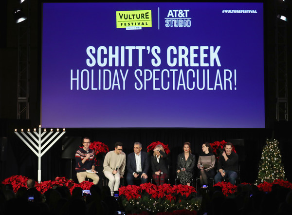 Vulture Festival Presented By AT&T - DAY 1 [text,stage,event,talent show,performance,display device,font,company,brand,performing arts,dan levy,jackson mchenry,eugene levy,annie murphy,emily hampshire,noah reid,l-r,hollywood roosevelt hotel,at t,vulture festival]