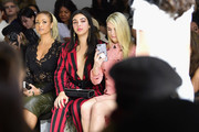 Gizelle Bryant (L) and Rydel Lynch (R) attend the Dan Liu fashion show during New York Fashion Week: The Shows at Gallery II at Spring Studios on February 10, 2018 in New York City.