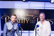Dan Stevens (L), pictured with Nick Snaith (R), visits the Magic Radio studio on March 16, 2017 in London, United Kingdom.