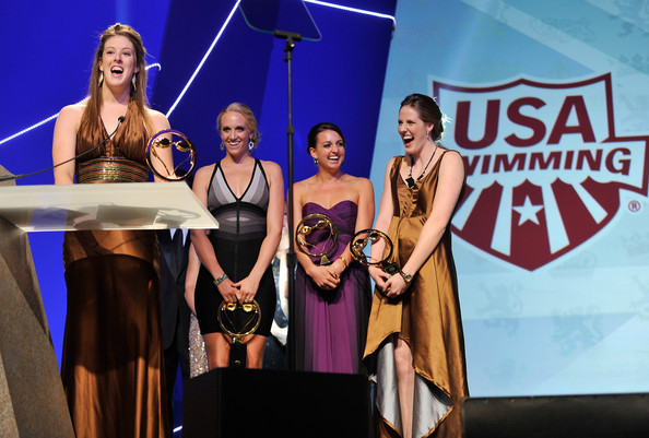 2012 Golden Goggle Awards [event,performance,competition,talent show,stage,costume,performing arts,award ceremony,award,stage equipment,athletes,allison schmitt,dana vollmer,missy franklin,rebecca soni,golden goggle awards,awards,golden goggle,new york city,olympic]