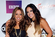 """Singer/actress Sabrina Bryan (L) and dancer Lacey Schwimmer arrive at the after party for the grand opening of """"Dancing With the Stars: Live in Las Vegas"""" at the New Tropicana Las Vegas April 13, 2012 in Las Vegas, Nevada."""
