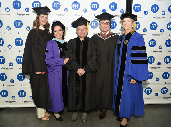 Brooke Shields, Randy Fenoli And Daniel Libeskind Honored at FIT Commencement [graduation,academic dress,scholar,mortarboard,event,diploma,phd,public event,robe,headgear,brooke shields,randy fenoli,daniel libeskind,joyce f. brown,elizabeth t. peek,l-r,new york city,commencement,fit commencement]