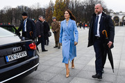 The Crown Princess Mary of Denmark walks to her car after paying respects at the Tomb of Unknown Soldiers on November 25, 2019 in Warsaw, Poland. The Danish Crown Prince and his wife are on an official visit to Poland on the occasion of the centenary of the resumption of diplomatic relations between Denmark and Poland.