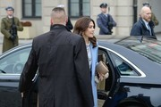 Crown Princess Mary of Denmark arrives for the official welcome ceremony at the Presidential Palace on November 25, 2019 in Warsaw, Poland. The Danish Crown Prince and his wife are on an official visit to Poland on the occasion of the centenary of the resumption of diplomatic relations between Denmark and Poland.