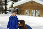 Prince Vincent of Denmark and Princess Mary of Denmark attend the Danish Royal family annual skiing photocall whilst on holiday on February 8, 2015 in Verbier, Switzerland.