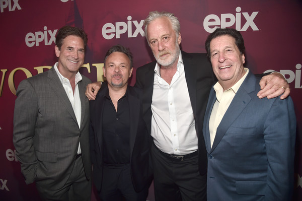 Los Angeles Premiere Of Epix's 'Pennyworth' - Red Carpet [la premiere,event,premiere,photography,smile,red carpet,peter roth,bruno heller,michael wright,danny cannon,pennyworth,california,epix,premiere]