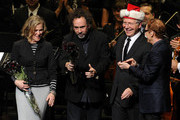 (L-R) Actress/singer Catherine O'Hara, director Tim Burton, conductor John Mauceri and singer/composer Danny Elfman onstage during Danny Elfman's Music from the films of Tim Burton at Nokia Theatre L.A. Live on October 31, 2013 in Los Angeles, California.