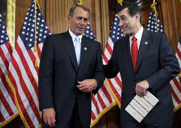 Darrell Issa U.S. Speaker of the House Rep. John Boehner (R-OH) (L) shares a moment with U.S. Rep. Darrell Issa (R-CA) during a ceremonial swearing-in on Capitol Hill January 5, 2011 in Washington, DC. The 112 U.S. Congress has convened on Capitol Hill today.
