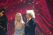 (L-R) Jury members Michelle Hunziker and Thomas Gottschalk during the 'Das Supertalent' Finals on December 16, 2012 in Cologne, Germany.