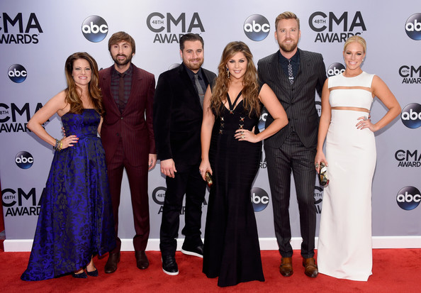 Arrivals at the 48th Annual CMA Awards [red carpet,carpet,dress,premiere,fashion,event,flooring,award,gown,formal wear,arrivals,dave haywood,kelli cashiola,charles kelley,hillary scott,chris tyrrell,cassie mcconnell,cma awards,bridgestone arena,lady antebellum]