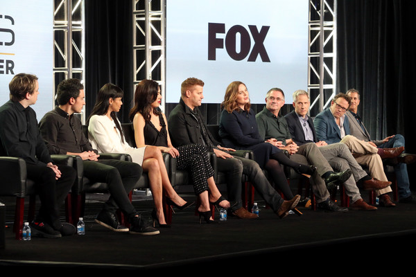 2017 Winter TCA Tour - Day 7 [television show,event,fashion,design,team,luxury vehicle,convention,company,hart hanson,actors,executive producers,creator,john boyd,michaela conlin,eric millegan,l-r,winter tca]