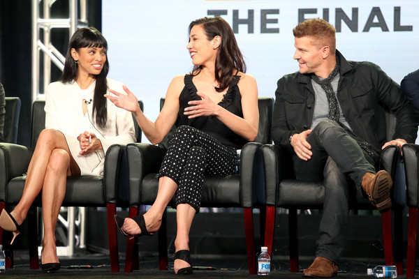 2017 Winter TCA Tour - Day 7 [television show,bones,event,fashion,sitting,conversation,interview,television program,performance,actors,tamara taylor,michaela conlin,david boreanaz,l-r,winter tca,fox,portion]