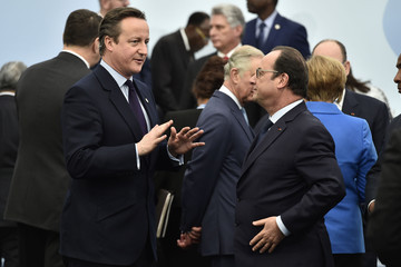 David Cameron Francois Hollande 21st Session of Conference on Climate Change COP21 Opens at Le Bourget