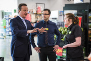 British Prime Minister David Cameron speaks to Asda employees during a visit to an Asda supermarket in Hayes on May 22, 2016 in London, England. Mr Cameron and politicians from different political parties are campaigning to remain in the European Union ahead of the EU referendum on June 23.