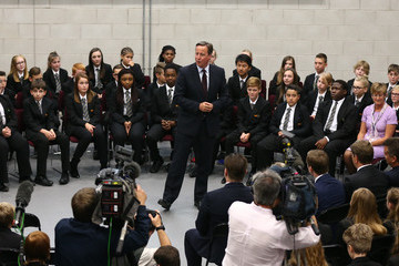 David Cameron The Prime Minister and Education Minister Visit a Free School
