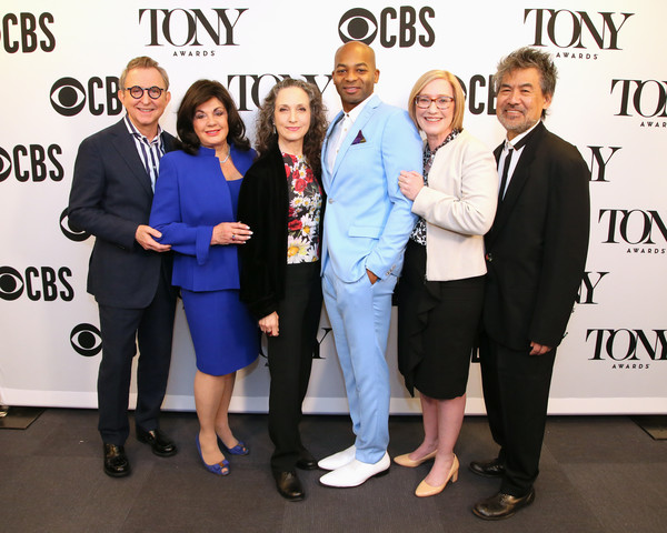 Bebe Neuwirth And Brandon Victor Dixon Host The 73rd Annual Tony Awards Nominations Announcement [bebe neuwirth,charlotte st. martin,brandon victor dixon host,thomas schumacher,president,david henry hwang,event,white-collar worker,suit,award,employment,business,formal wear,job,company,premiere,announcement,annual tony awards,broadway league,american theatre wing]