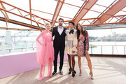 Victoria Lee, Tom Derickx, Dilone and Jessica Gomes arrive at the David Jones SS19 Season Preview at the Sydney Opera House on August 08, 2019 in Sydney, Australia.