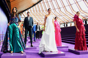 Jessica Gomes, Dilone and Victoria Lee showcase designs during the David Jones SS19 Season Preview at the Sydney Opera House on August 08, 2019 in Sydney, Australia.