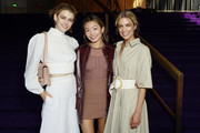 Victoria Lee, Yan Yan Chan and Bridget Yorston pose at the David Jones SS19 Season Preview at the Sydney Opera House on August 08, 2019 in Sydney, Australia.