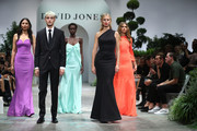 (L-R) Jessica Gomes, Anwar Hadid, Adut Akech, Karolina Kurkova and Victoria Lee walk in the finale of the David Jones Spring Summer 18 Collections Launch at Fox Studios on August 8, 2018 in Sydney, Australia.