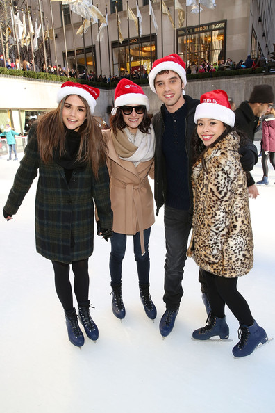 "ABC's ""25 Days Of Christmas"" Celebration [25 days of christmas,people,ice skating,winter,yellow,snow,recreation,fun,child,fashion,knit cap,actors,maia mitchell,cierra ramirez,david lambert,italia ricci,rockerfellar center,new york city,abc,celebration]"