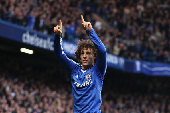 David Luiz David Luiz of Chelsea celebrates as he scores their first goal during the Barclays Premier League match between Chelsea and Manchester City at Stamford Bridge on March 20, 2011 in London, England.