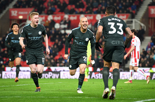 Stoke City vs. Manchester City - Premier League [player,sports,sports equipment,team sport,ball game,football player,sport venue,soccer,soccer player,product,david silva,kevin de bruyne,gabriel jesus,goal,bet365 stadium,stoke on trent,manchester city,stoke city,premier league,match]